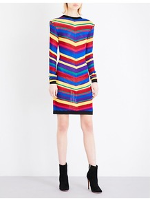 Multi Stripe Knitted Dress, Women's, Multicolore - style: jumper dress; pattern: horizontal stripes; predominant colour: true red; secondary colour: royal blue; occasions: evening; length: just above the knee; fit: body skimming; fibres: viscose/rayon - stretch; neckline: crew; sleeve length: long sleeve; sleeve style: standard; texture group: knits/crochet; pattern type: knitted - other; pattern size: big & busy; multicoloured: multicoloured; wardrobe: event; season: s/s 2017