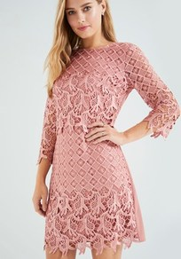 Crochet Midi Dress - style: shift; neckline: slash/boat neckline; fit: tailored/fitted; pattern: plain; predominant colour: pink; occasions: evening, occasion; length: just above the knee; fibres: polyester/polyamide - 100%; sleeve length: 3/4 length; sleeve style: standard; texture group: lace; pattern type: fabric; wardrobe: event; season: s/s 2017
