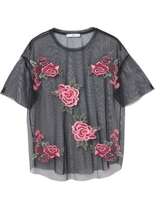Roses Tulle T Shirt - secondary colour: pink; predominant colour: black; occasions: evening; length: standard; style: top; fibres: polyester/polyamide - 100%; fit: straight cut; neckline: crew; sleeve length: short sleeve; sleeve style: standard; pattern type: fabric; pattern size: standard; pattern: florals; texture group: net/tulle; embellishment: embroidered; multicoloured: multicoloured; wardrobe: event; season: s/s 2017; embellishment location: pattern