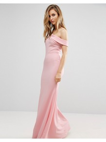 Bridesmaid Off Shoulder Fishtail Maxi Dress Pale Pink - neckline: off the shoulder; sleeve style: capped; pattern: plain; predominant colour: pink; length: floor length; fit: body skimming; fibres: polyester/polyamide - stretch; style: fishtail; sleeve length: short sleeve; pattern type: fabric; texture group: jersey - stretchy/drapey; occasions: bridalwear; wardrobe: event; season: s/s 2017