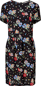 Riverboat Floral Dress, Black/Multi - style: shift; length: mid thigh; secondary colour: diva blue; predominant colour: black; occasions: casual, creative work; fit: straight cut; fibres: viscose/rayon - 100%; neckline: crew; sleeve length: short sleeve; sleeve style: standard; texture group: crepes; pattern type: fabric; pattern size: standard; pattern: florals; wardrobe: highlight; season: s/s 2017