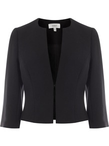 Kemara Jacket, Black - pattern: plain; style: single breasted blazer; collar: round collar/collarless; predominant colour: black; occasions: evening, occasion; length: standard; fit: tailored/fitted; fibres: polyester/polyamide - stretch; sleeve length: 3/4 length; sleeve style: standard; collar break: low/open; pattern type: fabric; pattern size: standard; texture group: woven light midweight; wardrobe: event; season: s/s 2017