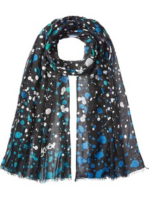 Printed Scarf - predominant colour: diva blue; secondary colour: black; occasions: casual, creative work; type of pattern: heavy; style: regular; size: standard; material: fabric; pattern: patterned/print; multicoloured: multicoloured; wardrobe: highlight; season: s/s 2017