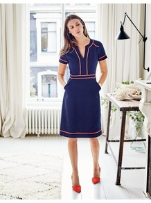 Tilda Dress Navy Women, Navy - style: shift; neckline: v-neck; fit: tailored/fitted; pattern: plain; predominant colour: navy; secondary colour: coral; length: on the knee; fibres: polyester/polyamide - stretch; occasions: occasion; sleeve length: short sleeve; sleeve style: standard; texture group: crepes; pattern type: fabric; pattern size: standard; wardrobe: event; season: s/s 2017; embellishment: contrast fabric; embellishment location: trim