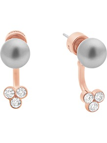 Glass Pearl Jacket Earrings, Grey/Rose Gold - predominant colour: gold; secondary colour: light grey; occasions: evening, occasion; style: stud; length: short; size: standard; material: chain/metal; fastening: pierced; finish: metallic; embellishment: pearls; wardrobe: event; season: s/s 2017