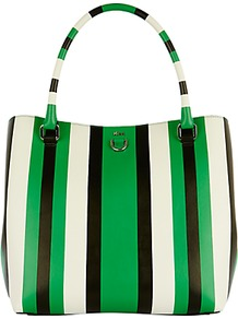 Stripe Bucket Bag, Green/Multi - predominant colour: emerald green; secondary colour: black; occasions: casual, creative work; type of pattern: light; style: tote; length: shoulder (tucks under arm); size: standard; material: fabric; finish: plain; pattern: vertical stripes; wardrobe: highlight; season: s/s 2017