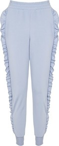 Ruffle Super Soft Joggers - length: standard; pattern: plain; style: tracksuit pants; waist detail: elasticated waist; waist: high rise; predominant colour: pale blue; occasions: casual, evening; fibres: polyester/polyamide - 100%; fit: tapered; pattern type: fabric; texture group: jersey - stretchy/drapey; trends: pretty girl; season: a/w 2016; wardrobe: highlight; embellishment location: hip