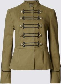 Military Bandstand Jacket - pattern: plain; collar: high neck; predominant colour: khaki; occasions: casual, creative work; length: standard; fit: tailored/fitted; fibres: cotton - stretch; sleeve length: long sleeve; sleeve style: standard; collar break: high; pattern type: fabric; texture group: woven light midweight; style: single breasted military jacket; wardrobe: basic; season: s/s 2017
