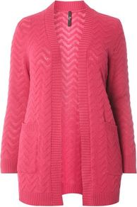 Pink Zig Zag Fluffy Cardigan - length: below the bottom; neckline: collarless open; pattern: cable knit; style: open front; predominant colour: hot pink; occasions: casual, creative work; fibres: acrylic - mix; fit: loose; sleeve length: long sleeve; sleeve style: standard; texture group: knits/crochet; pattern type: knitted - other; pattern size: standard; wardrobe: highlight; season: s/s 2017