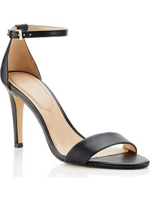 Heeled Sandals - predominant colour: black; occasions: evening; material: faux leather; heel height: high; ankle detail: ankle strap; heel: stiletto; toe: open toe/peeptoe; style: standard; finish: plain; pattern: plain; wardrobe: event; season: s/s 2017