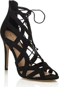 Caged High Heel Sandal - predominant colour: black; occasions: evening; material: faux leather; heel height: high; ankle detail: ankle tie; heel: stiletto; toe: open toe/peeptoe; style: strappy; finish: plain; pattern: plain; wardrobe: event; season: s/s 2017