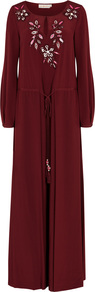 Burgundy Embroidered Silk Maxi Dress - fit: loose; pattern: plain; style: maxi dress; secondary colour: hot pink; predominant colour: burgundy; occasions: evening; length: floor length; neckline: peep hole neckline; fibres: silk - 100%; sleeve length: long sleeve; sleeve style: standard; texture group: silky - light; pattern type: fabric; embellishment: sequins; wardrobe: event; season: s/s 2017; embellishment location: bust