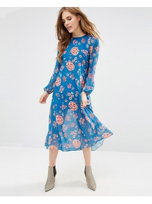 Minnie Mia Dress In Floral Print Blue - style: empire line; length: calf length; fit: empire; sleeve style: balloon; secondary colour: pink; predominant colour: diva blue; occasions: casual, creative work; fibres: polyester/polyamide - 100%; neckline: crew; sleeve length: long sleeve; texture group: sheer fabrics/chiffon/organza etc.; pattern type: fabric; pattern size: standard; pattern: florals; multicoloured: multicoloured; wardrobe: highlight; season: s/s 2017