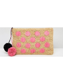 Beach Straw Spot Clutch Bag With Poms Multi - predominant colour: pink; secondary colour: camel; occasions: evening, creative work; type of pattern: large; style: clutch; length: hand carry; size: small; material: fabric; embellishment: sequins; finish: plain; pattern: patterned/print; wardrobe: highlight; season: s/s 2017