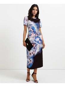 Abstract Floral Jersey T Shirt Dress - style: t-shirt; length: calf length; hip detail: draws attention to hips; secondary colour: diva blue; predominant colour: black; occasions: evening; fit: body skimming; fibres: polyester/polyamide - stretch; neckline: crew; sleeve length: short sleeve; sleeve style: standard; texture group: jersey - clingy; pattern type: fabric; pattern size: big & busy; pattern: florals; multicoloured: multicoloured; wardrobe: event; season: s/s 2017