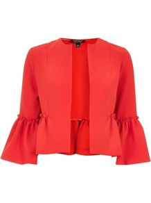 Crop Frill Jacket - pattern: plain; style: single breasted blazer; collar: round collar/collarless; predominant colour: true red; occasions: evening; fit: straight cut (boxy); fibres: polyester/polyamide - stretch; sleeve length: 3/4 length; sleeve style: standard; collar break: low/open; pattern type: fabric; texture group: woven light midweight; length: cropped; trends: glossy girl, statement sleeves, new work; wardrobe: event; season: s/s 2017