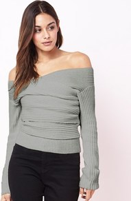 Bardot Wrap Jumper - neckline: off the shoulder; pattern: plain; style: standard; predominant colour: mid grey; occasions: casual; length: standard; fit: tight; sleeve length: long sleeve; sleeve style: standard; texture group: knits/crochet; pattern type: knitted - fine stitch; fibres: viscose/rayon - mix; wardrobe: highlight; season: s/s 2017
