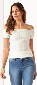 Knitted Bardot Jumper - neckline: off the shoulder; pattern: plain; style: standard; predominant colour: white; occasions: casual; length: standard; fibres: acrylic - mix; fit: tight; sleeve length: short sleeve; sleeve style: standard; texture group: knits/crochet; pattern type: knitted - fine stitch; wardrobe: highlight; season: s/s 2017