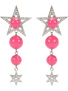Crystal Embellished Clip On Earrings - secondary colour: hot pink; predominant colour: silver; occasions: evening; style: chandelier; length: long; size: large/oversized; material: chain/metal; fastening: clip on; finish: metallic; embellishment: pearls; wardrobe: event; season: s/s 2017