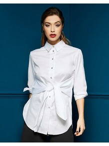 Tie Front Blouse - neckline: shirt collar/peter pan/zip with opening; pattern: plain; style: shirt; waist detail: belted waist/tie at waist/drawstring; predominant colour: ivory/cream; occasions: work; length: standard; fibres: cotton - 100%; fit: straight cut; sleeve length: half sleeve; sleeve style: standard; texture group: cotton feel fabrics; pattern type: fabric; wardrobe: basic; season: s/s 2017