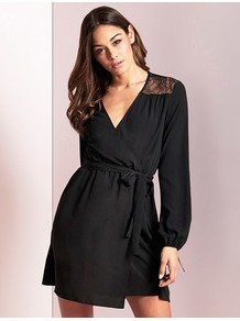 Lace Top Wrap Dress - style: faux wrap/wrap; length: mid thigh; neckline: low v-neck; pattern: plain; waist detail: belted waist/tie at waist/drawstring; predominant colour: black; occasions: evening; fit: body skimming; fibres: polyester/polyamide - 100%; sleeve length: long sleeve; sleeve style: standard; texture group: sheer fabrics/chiffon/organza etc.; pattern type: fabric; embellishment: lace; wardrobe: event; season: s/s 2017; embellishment location: shoulder