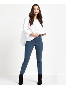 Slim Jeans - length: standard; pattern: plain; pocket detail: traditional 5 pocket; style: slim leg; waist: mid/regular rise; predominant colour: denim; occasions: casual; fibres: cotton - stretch; texture group: denim; pattern type: fabric; wardrobe: basic; season: s/s 2017
