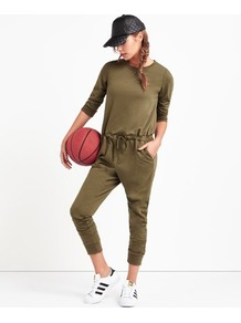 Kickblack Jumpsuit - pattern: plain; predominant colour: khaki; occasions: casual; length: calf length; fit: body skimming; fibres: polyester/polyamide - mix; neckline: crew; sleeve length: 3/4 length; sleeve style: standard; style: jumpsuit; pattern type: fabric; texture group: jersey - stretchy/drapey; wardrobe: highlight; season: s/s 2017
