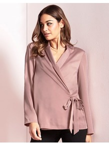 Satin Tie Blazer - pattern: plain; style: belted jacket; collar: standard lapel/rever collar; predominant colour: blush; occasions: casual, creative work; length: standard; fit: straight cut (boxy); fibres: polyester/polyamide - stretch; waist detail: belted waist/tie at waist/drawstring; sleeve length: long sleeve; sleeve style: standard; texture group: structured shiny - satin/tafetta/silk etc.; collar break: medium; pattern type: fabric; wardrobe: basic; season: s/s 2017