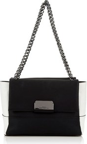 Shoulder Bag - secondary colour: white; predominant colour: black; occasions: casual, work, creative work; type of pattern: standard; style: shoulder; length: shoulder (tucks under arm); size: standard; material: faux leather; finish: plain; pattern: colourblock; multicoloured: multicoloured; wardrobe: highlight; season: s/s 2017; trends: monochrome