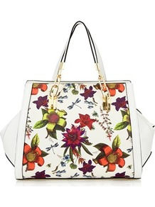 Floral Printed Bowler Bag - predominant colour: white; secondary colour: burgundy; occasions: casual; type of pattern: standard; style: bowling; length: shoulder (tucks under arm); size: standard; material: faux leather; pattern: florals; finish: plain; multicoloured: multicoloured; wardrobe: highlight; season: s/s 2017