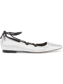 Kiddie Lace Up Metallic Textured Leather Point Toe Flats Silver - predominant colour: silver; occasions: casual, evening; material: leather; heel height: flat; toe: pointed toe; style: ballerinas / pumps; finish: metallic; pattern: plain; wardrobe: basic; season: s/s 2017