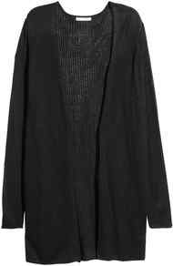 Rib Knit Cardigan - pattern: plain; neckline: collarless open; style: open front; length: on the knee; predominant colour: black; occasions: casual; fibres: acrylic - mix; fit: loose; sleeve length: long sleeve; sleeve style: standard; texture group: knits/crochet; pattern type: knitted - fine stitch; wardrobe: basic; season: s/s 2017