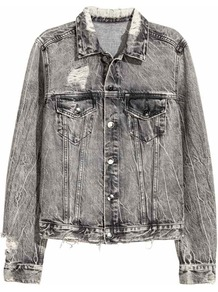 Trashed Denim Jacket - pattern: plain; fit: loose; style: denim; predominant colour: mid grey; occasions: casual; length: standard; fibres: cotton - stretch; collar: shirt collar/peter pan/zip with opening; sleeve length: long sleeve; sleeve style: standard; texture group: denim; collar break: high; pattern type: fabric; wardrobe: basic; season: s/s 2017