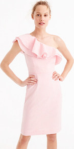 Petite One Shoulder Ruffle Dress In Seersucker - style: shift; fit: tailored/fitted; sleeve style: asymmetric sleeve; pattern: pinstripe; neckline: asymmetric; secondary colour: white; predominant colour: pink; occasions: evening, occasion; length: just above the knee; fibres: cotton - 100%; sleeve length: sleeveless; texture group: cotton feel fabrics; bust detail: bulky details at bust; pattern type: fabric; pattern size: standard; wardrobe: event; season: s/s 2017; embellishment: frills; embellishment location: bust