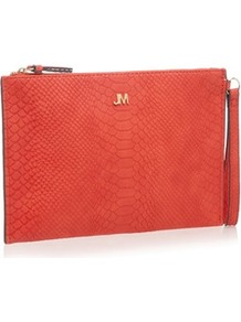 Clutch Bag - predominant colour: coral; occasions: evening; type of pattern: standard; style: clutch; length: hand carry; size: standard; pattern: plain; finish: plain; material: faux suede; wardrobe: event; season: s/s 2017