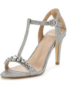 Glitter Heeled Sandal Silver - predominant colour: silver; occasions: evening, occasion; material: faux leather; heel height: high; embellishment: crystals/glass; heel: stiletto; toe: open toe/peeptoe; style: standard; finish: metallic; pattern: plain; wardrobe: event; season: s/s 2017