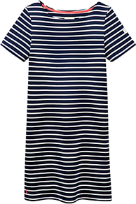 Riviera Stripe Jersey Dress - style: t-shirt; length: mid thigh; neckline: round neck; pattern: horizontal stripes; secondary colour: white; predominant colour: navy; occasions: casual, creative work; fit: body skimming; fibres: cotton - 100%; sleeve length: short sleeve; sleeve style: standard; pattern type: fabric; pattern size: light/subtle; texture group: jersey - stretchy/drapey; wardrobe: basic; season: s/s 2017