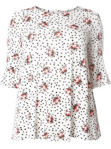 Ivory Rose And Polka Dot Print Top - style: t-shirt; predominant colour: white; secondary colour: nude; occasions: casual; length: standard; fibres: viscose/rayon - stretch; fit: loose; neckline: crew; sleeve length: 3/4 length; sleeve style: standard; pattern type: fabric; pattern size: standard; pattern: florals; texture group: jersey - stretchy/drapey; wardrobe: highlight; season: s/s 2017