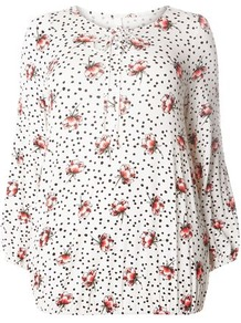 Ivory Rose And Spotted Print Top - style: t-shirt; predominant colour: white; secondary colour: nude; occasions: casual; length: standard; fibres: viscose/rayon - stretch; fit: loose; neckline: crew; sleeve length: 3/4 length; sleeve style: standard; pattern type: fabric; pattern size: standard; pattern: florals; texture group: jersey - stretchy/drapey; wardrobe: highlight; season: s/s 2017