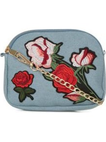 Pale Blue Floral Embroidered Across Body Bag - predominant colour: denim; occasions: casual, creative work; type of pattern: standard; style: shoulder; length: across body/long; size: small; material: fabric; embellishment: embroidered; pattern: florals; finish: plain; multicoloured: multicoloured; wardrobe: highlight; season: s/s 2017