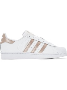 Superstar W Trainers - predominant colour: white; secondary colour: gold; occasions: casual, activity; material: faux leather; heel height: flat; toe: round toe; style: trainers; finish: plain; pattern: striped; season: s/s 2017