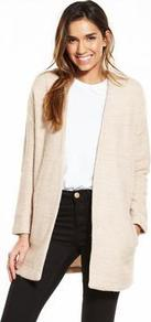 Beige Jersey Jacket - pattern: plain; style: single breasted blazer; collar: round collar/collarless; predominant colour: stone; occasions: casual; fit: straight cut (boxy); fibres: acrylic - mix; length: mid thigh; sleeve length: long sleeve; sleeve style: standard; collar break: low/open; pattern type: fabric; texture group: jersey - stretchy/drapey; wardrobe: basic; season: s/s 2017