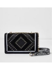 Stud &Amp; Eyelet Detail Crossbody - secondary colour: silver; predominant colour: black; occasions: casual, creative work; type of pattern: standard; style: messenger; length: across body/long; size: standard; material: fabric; embellishment: studs; pattern: plain; finish: plain; wardrobe: highlight; season: s/s 2017
