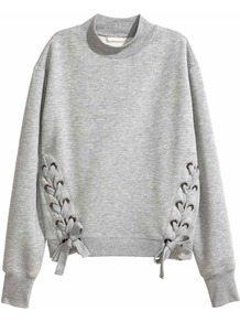 Sweatshirt With Lacing - neckline: high neck; style: sweat top; predominant colour: light grey; occasions: casual; length: standard; fibres: cotton - stretch; fit: loose; sleeve length: long sleeve; sleeve style: standard; pattern type: fabric; pattern size: light/subtle; texture group: jersey - stretchy/drapey; pattern: marl; wardrobe: basic; season: s/s 2017