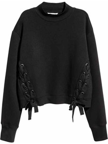 Sweatshirt With Lacing - pattern: plain; neckline: high neck; style: sweat top; predominant colour: black; occasions: casual; length: standard; fibres: cotton - stretch; fit: loose; sleeve length: long sleeve; sleeve style: standard; texture group: jersey - clingy; pattern type: fabric; wardrobe: basic; season: s/s 2017