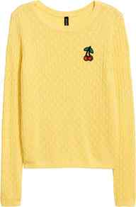 Cable Knit Jumper - neckline: round neck; style: standard; pattern: cable knit; secondary colour: true red; predominant colour: primrose yellow; occasions: casual, creative work; length: standard; fibres: acrylic - mix; fit: standard fit; sleeve length: long sleeve; sleeve style: standard; texture group: knits/crochet; pattern type: knitted - other; pattern size: standard; embellishment: embroidered; wardrobe: highlight; season: s/s 2017; embellishment location: bust