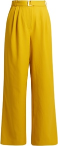 Wide Leg Twill Trousers - length: standard; pattern: plain; waist detail: belted waist/tie at waist/drawstring; waist: mid/regular rise; predominant colour: mustard; occasions: casual; fibres: polyester/polyamide - mix; fit: wide leg; pattern type: fabric; texture group: woven light midweight; style: standard; wardrobe: highlight; season: s/s 2017