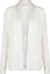 Holiester Ivory Tuxedo Jacket - pattern: plain; style: single breasted tuxedo; collar: shawl/waterfall; predominant colour: white; occasions: evening, occasion; length: standard; fit: tailored/fitted; fibres: viscose/rayon - 100%; sleeve length: long sleeve; sleeve style: standard; texture group: crepes; collar break: low/open; pattern type: fabric; wardrobe: event; season: s/s 2017