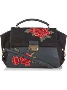 Black Suedette Panel Floral Embroidered Satchel - secondary colour: true red; predominant colour: black; occasions: casual, creative work; type of pattern: small; style: satchel; length: handle; size: standard; embellishment: embroidered; pattern: florals; finish: plain; material: faux suede; wardrobe: highlight; season: s/s 2017; trends: embroidered
