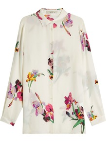Printed Silk Blouse - neckline: shirt collar/peter pan/zip with opening; style: blouse; predominant colour: ivory/cream; length: standard; fibres: silk - 100%; fit: straight cut; sleeve length: long sleeve; sleeve style: standard; texture group: silky - light; pattern type: fabric; pattern: florals; occasions: creative work; pattern size: big & busy (top); multicoloured: multicoloured; wardrobe: highlight; season: s/s 2017